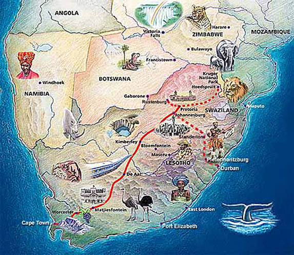 The Blue Train Route Map
