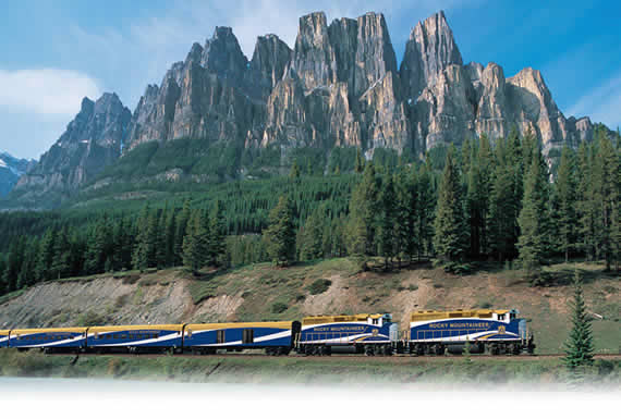 Rocky Mountaineer snaking around a mountain
